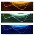 Bright neon glow line web footer set vector image vector image