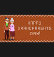 cartoon loving elderly couple embrace on orange vector image vector image