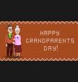 cartoon loving elderly couple embrace on orange vector image