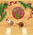 christmas celebration with hot coffee vector image