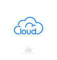 cloud computing logo storage network icon linear vector image