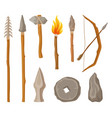 collection of stone age symbols tools and weapon vector image vector image