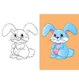 Coloring Book Of Cute Blue Little Hare vector image