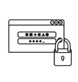 computer window with padlock isolated icon vector image vector image