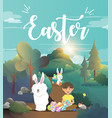 cute boy with easter bunny vector image vector image