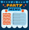 cute colorful flyer for cafe with menu for party vector image