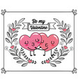 cute hearts couple kiss with branches leaves vector image vector image