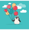Cute penguin with balloons - Merry Christmas vector image vector image