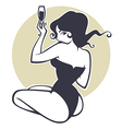 drinking pinup girl vector image