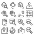 find and search related icons set on white vector image vector image