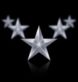 Five silver stars in the shape of wedge on black vector image vector image