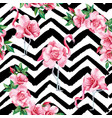 flamingo roses seamless pattern black white vector image