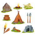 flat set of various prehistoric objects vector image