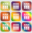 Folder icon Nine buttons with bright gradients vector image vector image