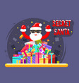 happy secret santa claus shopping pile goods vector image vector image