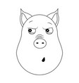 head of paranoid pig in outline style kawaii vector image vector image
