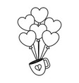 heart shaped party balloons with coffee cup vector image