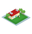 isometric house with people vector image