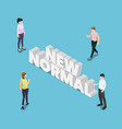 isometric people keep distance in public society vector image
