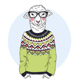 lambl dressed up in jacquard pullover vector image vector image