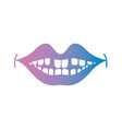 line smile mouth with dental teeth vector image vector image