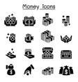 money coin cash icon set vector image