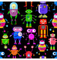 pattern with robots vector image vector image