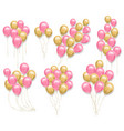 pink and yellow balloons set realistic 3d vector image