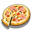 pizza with slices trout on surface isolated vector image