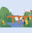railway bridge with moving train at beautiful vector image vector image