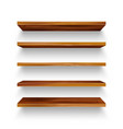 realistic empty wooden store shelves set product vector image vector image