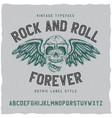 rock and roll label font vector image vector image