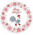 Rooster in red boots Cartoon stylized symbol Year vector image