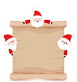 santa claus and parchment sign funny vector image vector image