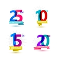 set of anniversary numbers design 25 10 vector image