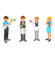 set of waiter character design vector image vector image