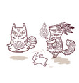 shaman fox and yogi fox in outline fun characters vector image vector image