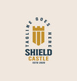shield castle logo template vector image