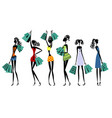 silhouettes of women with shopping vector image vector image