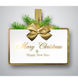 White paper gift card with spruce twigs vector image vector image