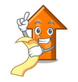 with menu arrow mascot cartoon style vector image