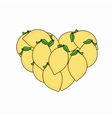 modern Lemon in the form of heart isolated vector image