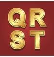 Gold letters alphabet font style Q R S T vector image