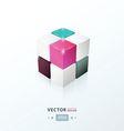3D Cube black pink Purple blue color vector image vector image