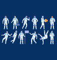 astronaut poses spaceman dancer stand with flag vector image