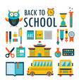 Back to school flat design icons set isolated on