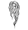 beautiful portrait of a woman with long wavy hair vector image vector image