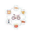 bicycle vehicle with set icons vector image vector image