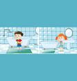 boy and girl brushing teeth in bathroom vector image