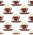 Brown cups of hot coffee seamless pattern vector image